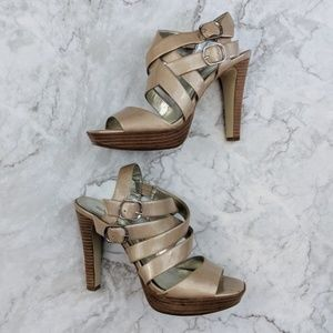 Style & Co. Metallic Nude Strappy Block Heels